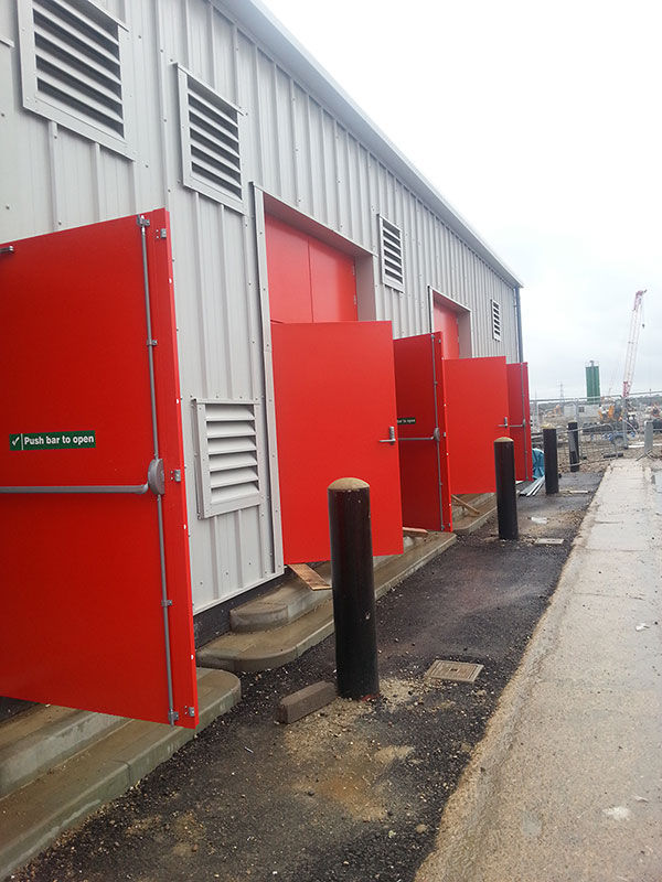 red industrial fire doors