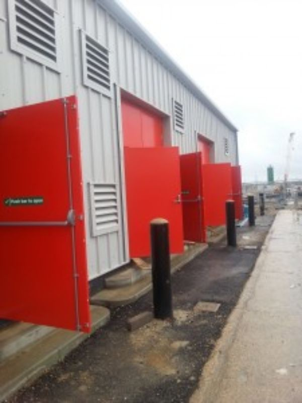 red fire doors
