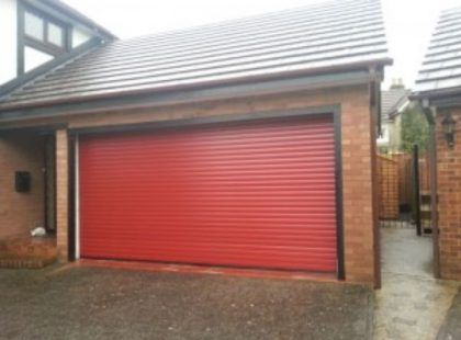 red shutter door for garage