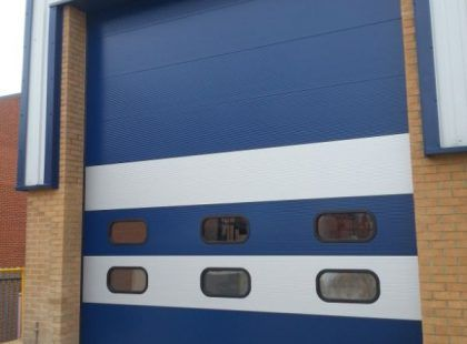 insulated sectional blue door