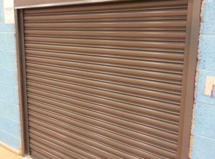 maroon shutter door