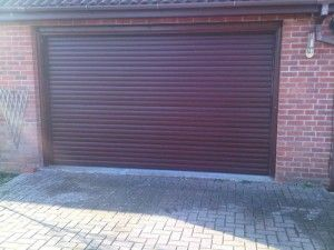 dark red garage door