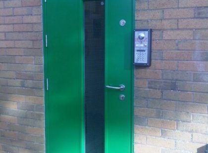 green door with window