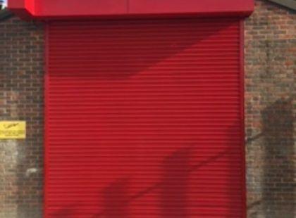 red roller shutter door