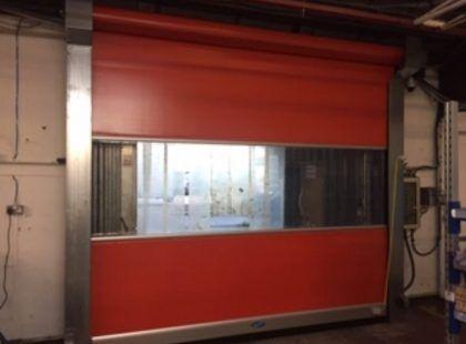 a red High Speed PVC Door