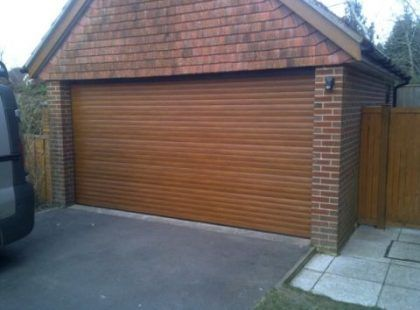 roller garage doors on brick garage